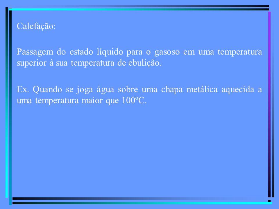 Calefação: Passagem do estado líquido para o gasoso em uma temperatura superior à sua temperatura de ebulição.