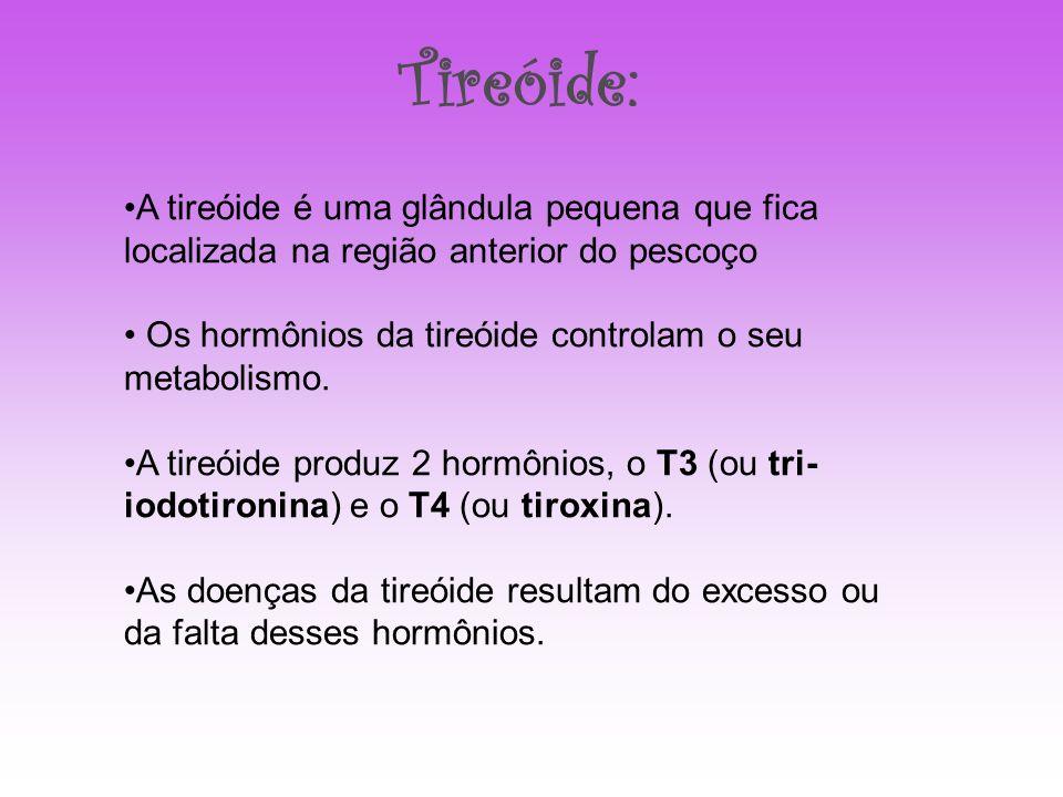 A tireóide é uma glândula pequena que fica localizada na região anterior do pescoço Os hormônios da tireóide controlam o seu metabolismo. A tireóide p