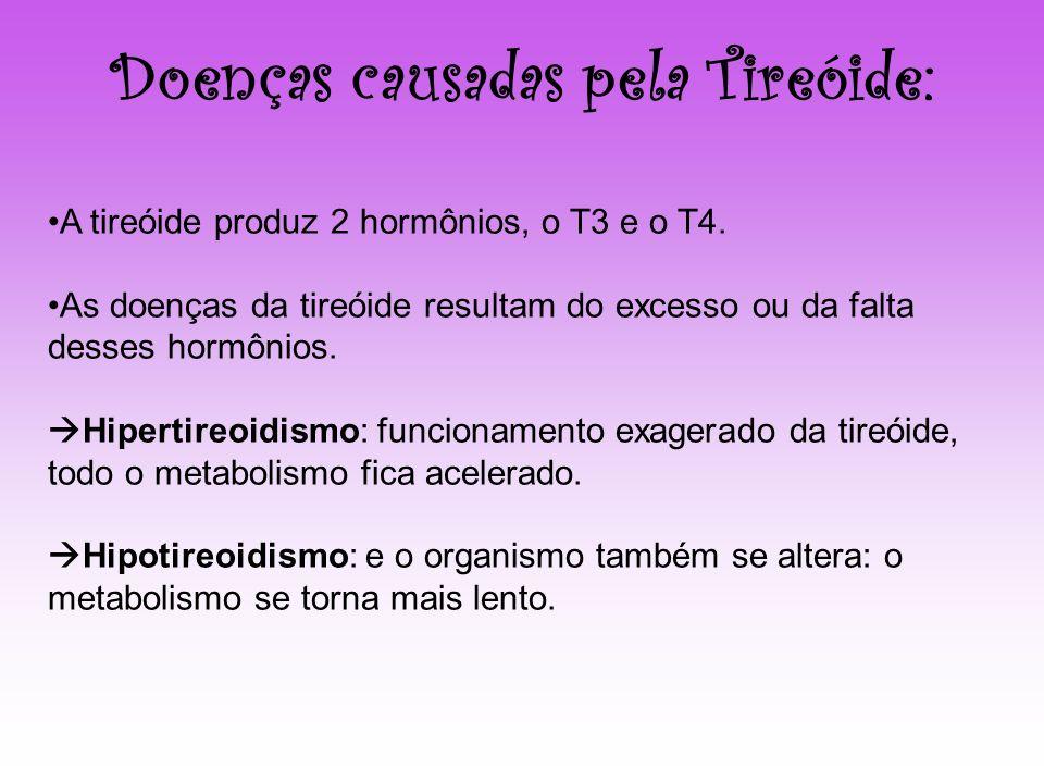 A tireóide produz 2 hormônios, o T3 e o T4. As doenças da tireóide resultam do excesso ou da falta desses hormônios. Hipertireoidismo: funcionamento e