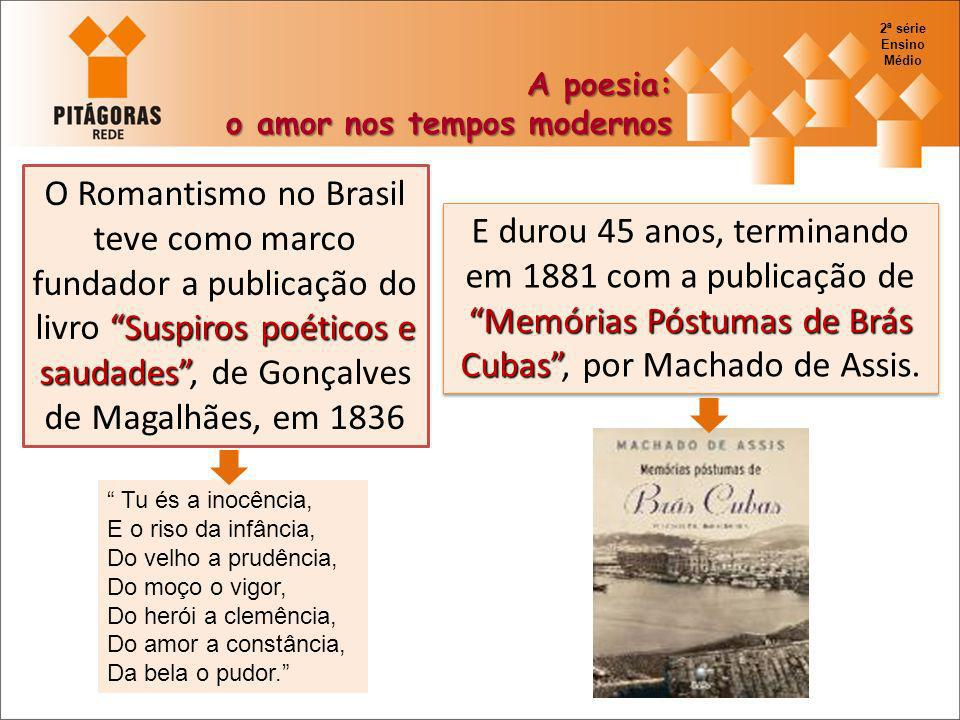 Suspiros poéticos e saudades O Romantismo no Brasil teve como marco fundador a publicação do livro Suspiros poéticos e saudades, de Gonçalves de Magal