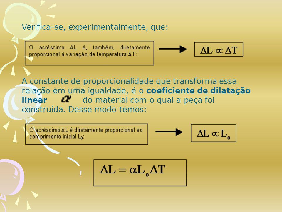 Verifica-se, experimentalmente, que: A constante de proporcionalidade que transforma essa relação em uma igualdade, é o coeficiente de dilatação linea