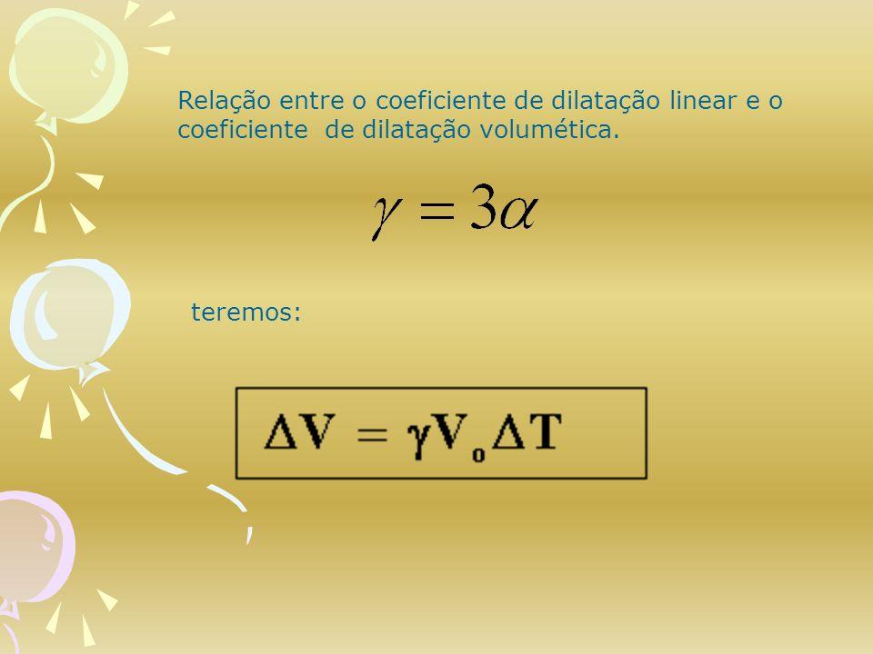 teremos: Relação entre o coeficiente de dilatação linear e o coeficiente de dilatação volumética.