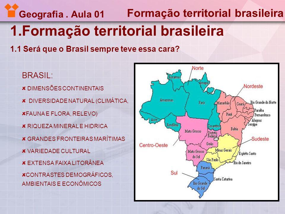 Geografia. Aula 01 1.Formação territorial brasileira 1.1 Será que o Brasil sempre teve essa cara? Formação territorial brasileira BRASIL: DIMENSÕES CO