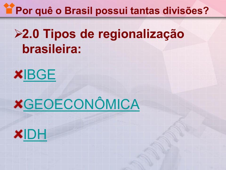 Por quê o Brasil possui tantas divisões? 2.0 Tipos de regionalização brasileira: IBGE GEOECONÔMICA IDH