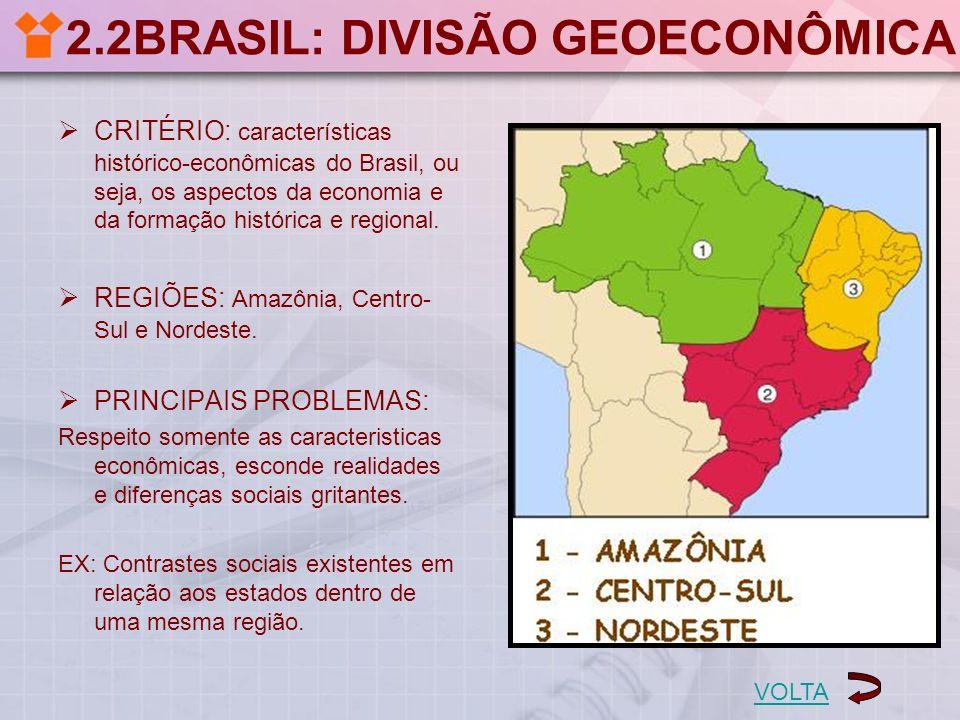 2.2BRASIL: DIVISÃO GEOECONÔMICA CRITÉRIO: características histórico-econômicas do Brasil, ou seja, os aspectos da economia e da formação histórica e r