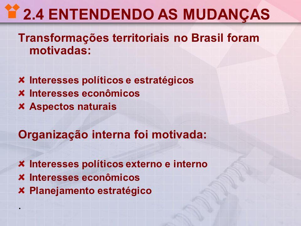 2.4 ENTENDENDO AS MUDANÇAS Transformações territoriais no Brasil foram motivadas: Interesses políticos e estratégicos Interesses econômicos Aspectos n