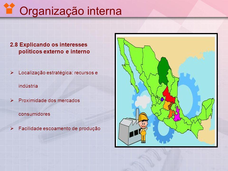 Organização interna 2.8 Explicando os interesses políticos externo e interno Localização estratégica: recursos e indústria Proximidade dos mercados co