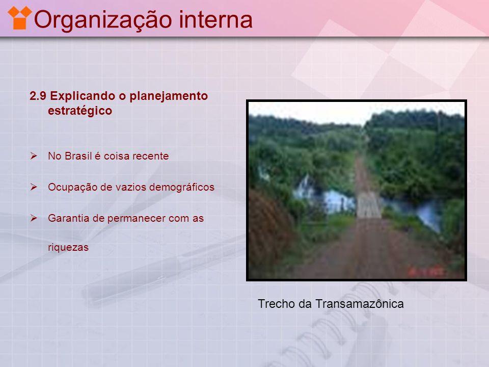 Organização interna 2.9 Explicando o planejamento estratégico No Brasil é coisa recente Ocupação de vazios demográficos Garantia de permanecer com as