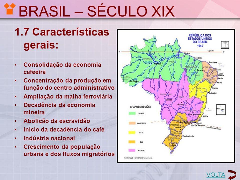 BRASIL – SÉCULO XIX 1.7 Características gerais: Consolidação da economia cafeeira Concentração da produção em função do centro administrativo Ampliaçã