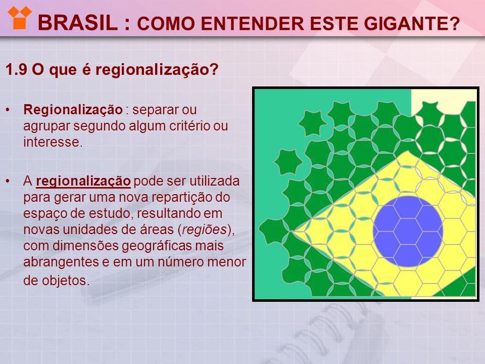 BRASIL : COMO ENTENDER ESTE GIGANTE? 1.9 O que é regionalização? Regionalização : separar ou agrupar segundo algum critério ou interesse. A regionaliz