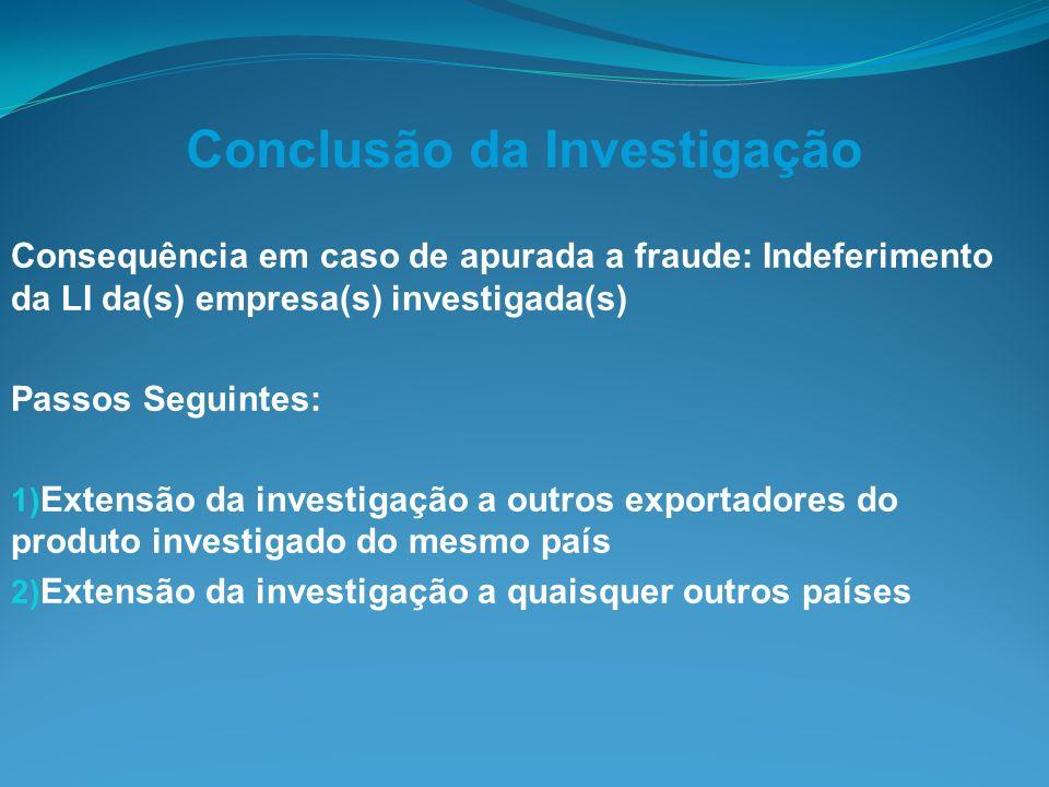 Conclusão da Investigação Consequência em caso de apurada a fraude: Indeferimento da LI da(s) empresa(s) investigada(s) Passos Seguintes: 1) Extensão