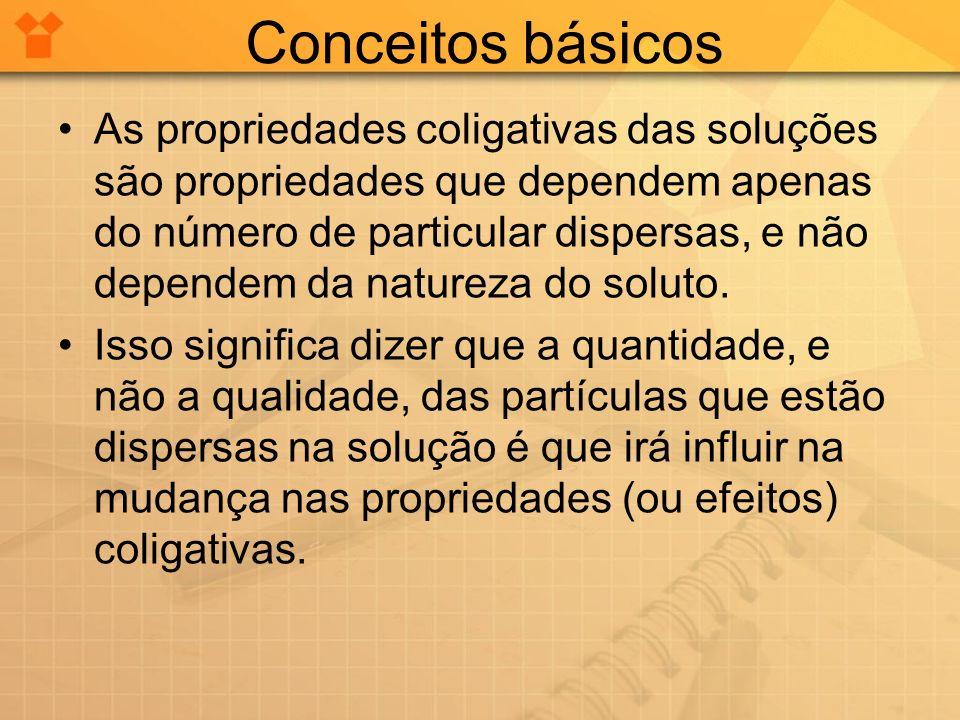 Conceitos básicos As propriedades coligativas das soluções são propriedades que dependem apenas do número de particular dispersas, e não dependem da n