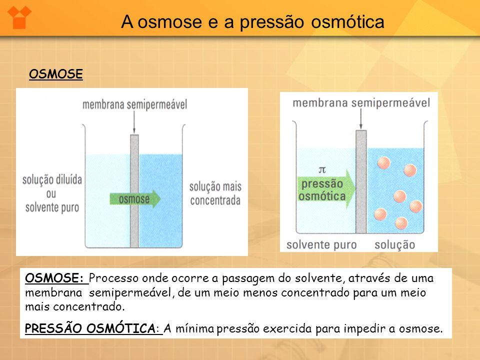A osmose e a pressão osmótica OSMOSE OSMOSE: Processo onde ocorre a passagem do solvente, através de uma membrana semipermeável, de um meio menos conc