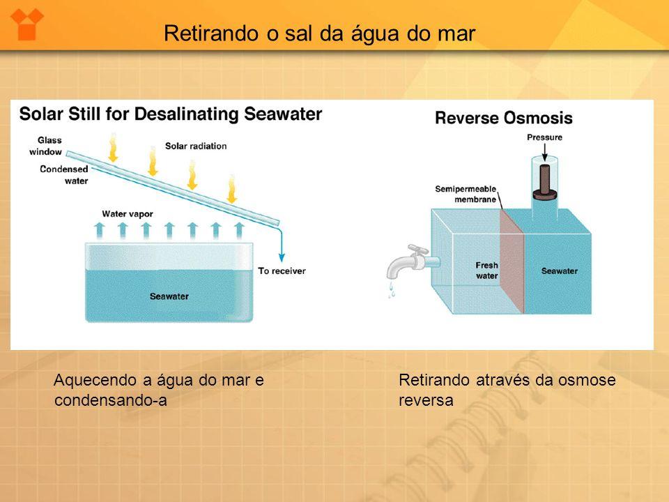 Retirando o sal da água do mar Aquecendo a água do mar e condensando-a Retirando através da osmose reversa