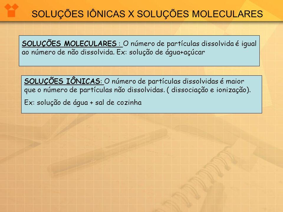 SOLUÇÕES IÔNICAS X SOLUÇÕES MOLECULARES SOLUÇÕES MOLECULARES : O número de partículas dissolvida é igual ao número de não dissolvida. Ex: solução de á