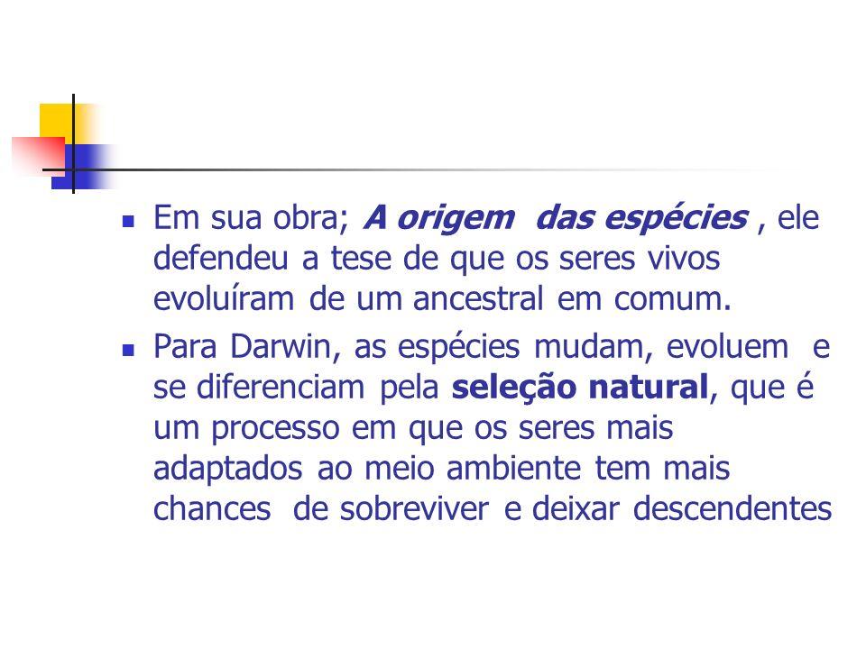 Em sua obra; A origem das espécies, ele defendeu a tese de que os seres vivos evoluíram de um ancestral em comum. Para Darwin, as espécies mudam, evol