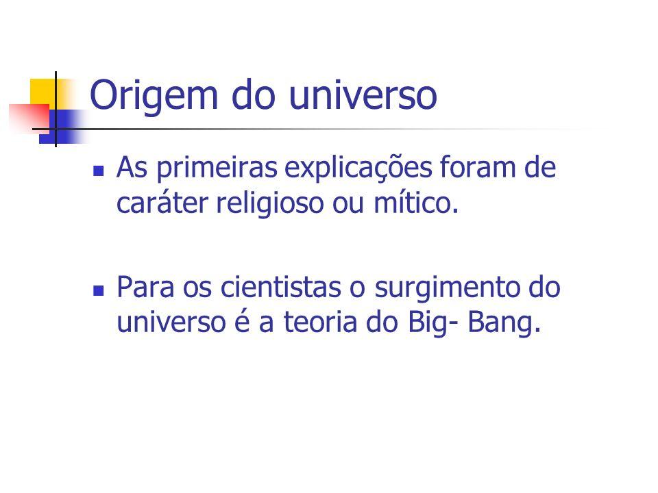 Origem do universo As primeiras explicações foram de caráter religioso ou mítico. Para os cientistas o surgimento do universo é a teoria do Big- Bang.
