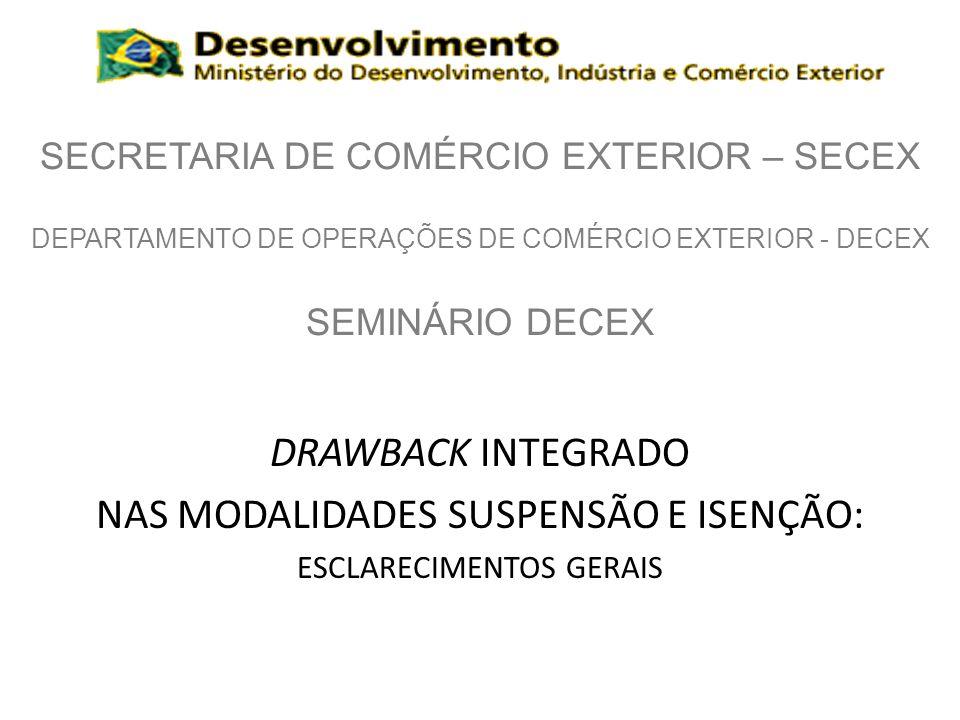 Definindo drawback Regime aduaneiro especial: – Possibilita suspensão, isenção ou restituição tributária.