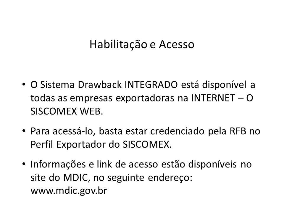 O Sistema Drawback INTEGRADO está disponível a todas as empresas exportadoras na INTERNET – O SISCOMEX WEB. Para acessá-lo, basta estar credenciado pe