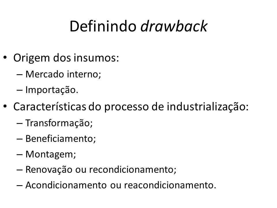 Definindo drawback Modalidades: – Suspensão (SECEX): Importação ou compra no mercado interno de insumos com suspensão de tributos para produzir bem a ser exportado.