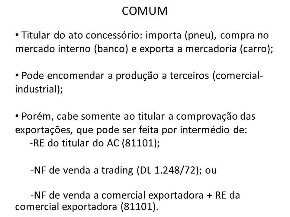 Titular do ato concessório: importa (pneu), compra no mercado interno (banco) e exporta a mercadoria (carro); Pode encomendar a produção a terceiros (