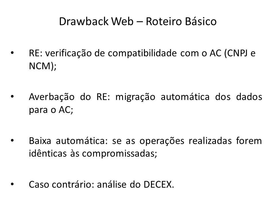 RE: verificação de compatibilidade com o AC (CNPJ e NCM); Averbação do RE: migração automática dos dados para o AC; Baixa automática: se as operações