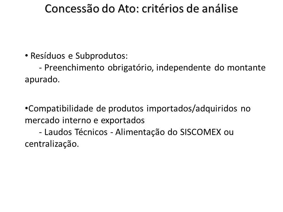 Resíduos e Subprodutos: - Preenchimento obrigatório, independente do montante apurado. Compatibilidade de produtos importados/adquiridos no mercado in