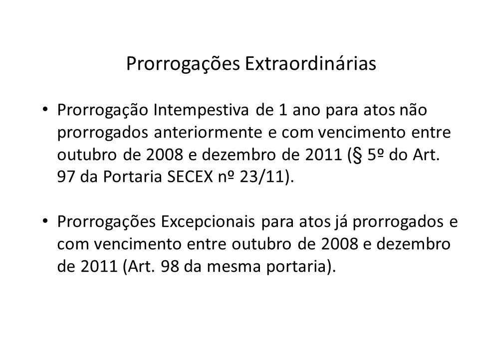 Prorrogações Extraordinárias Prorrogação Intempestiva de 1 ano para atos não prorrogados anteriormente e com vencimento entre outubro de 2008 e dezemb