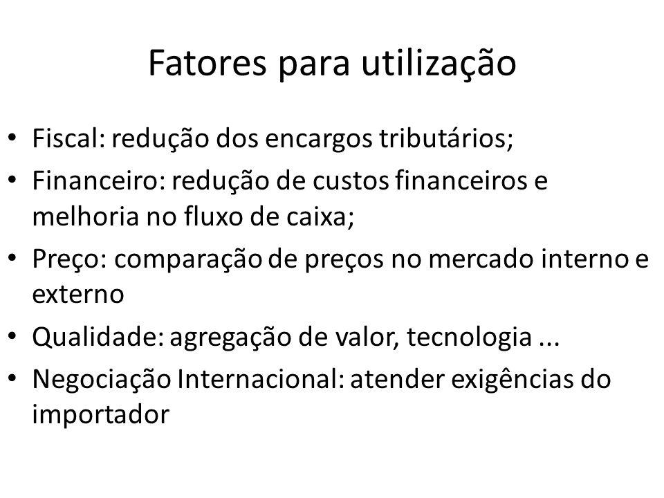 Fatores para utilização Fiscal: redução dos encargos tributários; Financeiro: redução de custos financeiros e melhoria no fluxo de caixa; Preço: compa