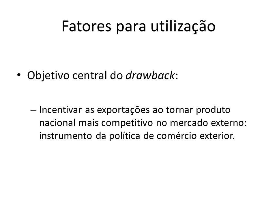Fatores para utilização Objetivo central do drawback: – Incentivar as exportações ao tornar produto nacional mais competitivo no mercado externo: inst