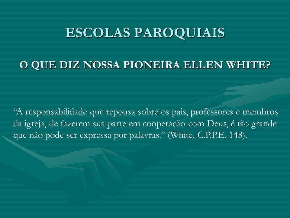 ESCOLAS PAROQUIAIS O QUE DIZ NOSSA PIONEIRA ELLEN WHITE? A responsabilidade que repousa sobre os pais, professores e membros da igreja, de fazerem sua