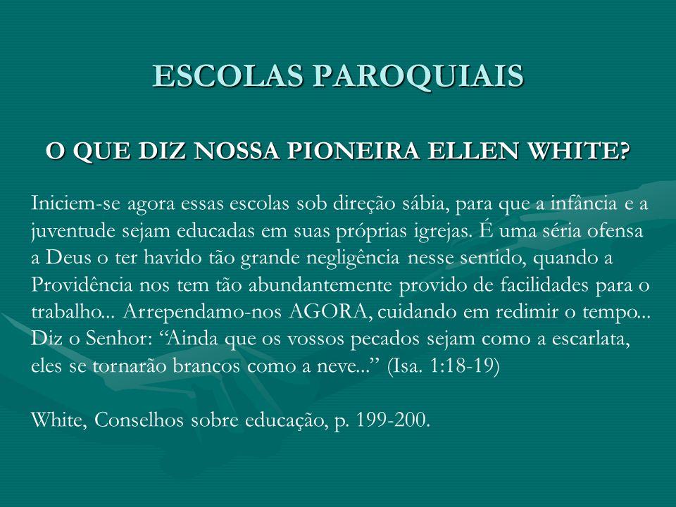 ESCOLAS PAROQUIAIS O QUE DIZ NOSSA PIONEIRA ELLEN WHITE? Iniciem-se agora essas escolas sob direção sábia, para que a infância e a juventude sejam edu