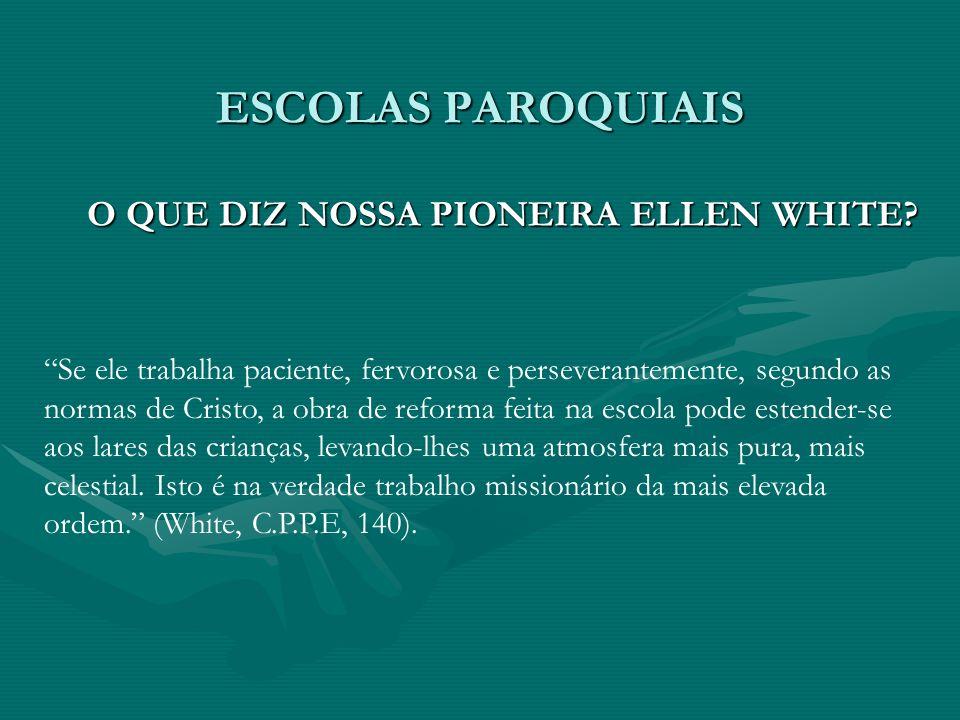 ESCOLAS PAROQUIAIS O QUE DIZ NOSSA PIONEIRA ELLEN WHITE? Se ele trabalha paciente, fervorosa e perseverantemente, segundo as normas de Cristo, a obra