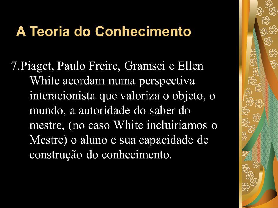 7.Piaget, Paulo Freire, Gramsci e Ellen White acordam numa perspectiva interacionista que valoriza o objeto, o mundo, a autoridade do saber do mestre,