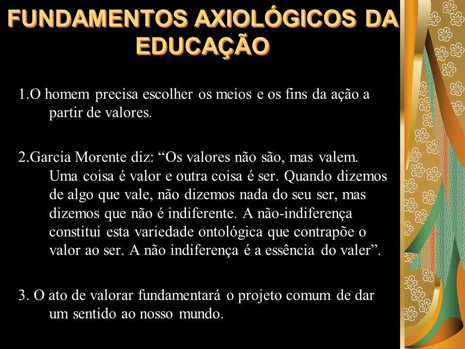 FUNDAMENTOS AXIOLÓGICOS DA EDUCAÇÃO 1.O homem precisa escolher os meios e os fins da ação a partir de valores. 2.Garcia Morente diz: Os valores não sã