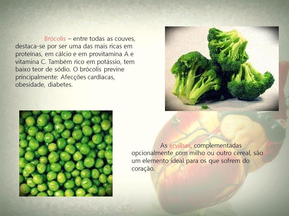 As ervilhas, complementadas opcionalmente com milho ou outro cereal, são um elemento ideal para os que sofrem do coração. Brócolis – entre todas as co