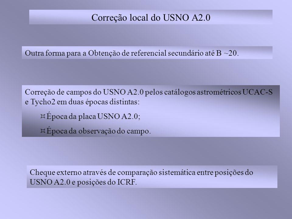 Correção local do USNO A2.0 Outra forma para a Obtenção de referencial secundário até B ~20.