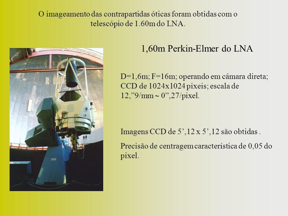 1,60m Perkin-Elmer do LNA D=1,6m; F=16m; operando em câmara direta; CCD de 1024x1024 pixeis; escala de 12,9/mm 0,27/pixel.