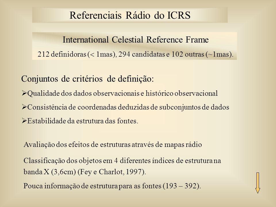 International Celestial Reference Frame 212 definidoras ( 1mas), 294 candidatas e 102 outras (~1mas).