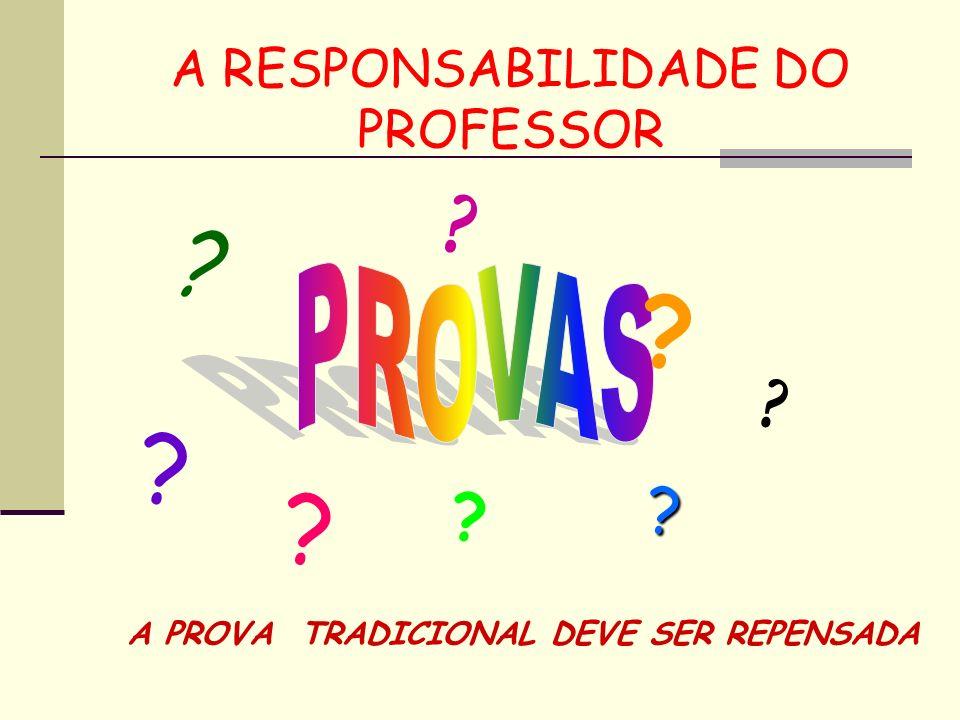 A RESPONSABILIDADE DO PROFESSOR ? ? ? ? ? ? ? ? A PROVA TRADICIONAL DEVE SER REPENSADA