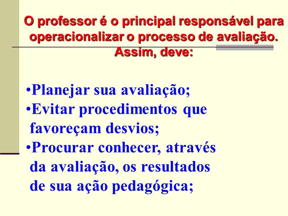 Planejar sua avaliação; Evitar procedimentos que favoreçam desvios; Procurar conhecer, através da avaliação, os resultados de sua ação pedagógica; O p