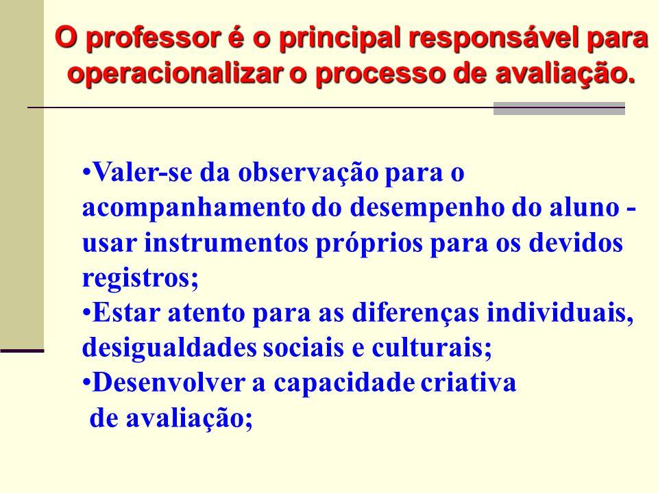 Valer-se da observação para o acompanhamento do desempenho do aluno - usar instrumentos próprios para os devidos registros; Estar atento para as difer