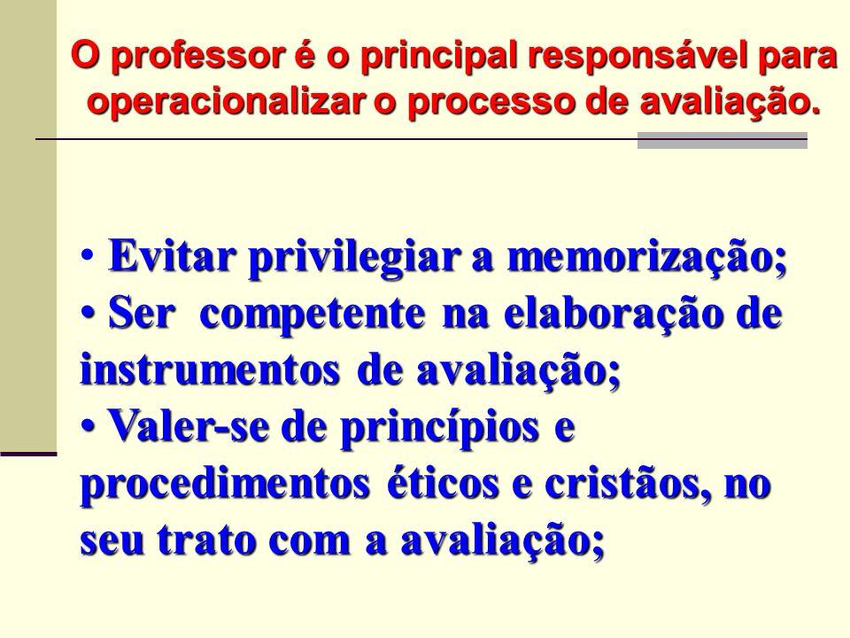 Evitar privilegiar a memorização; Ser competente na elaboração de instrumentos de avaliação; Ser competente na elaboração de instrumentos de avaliação