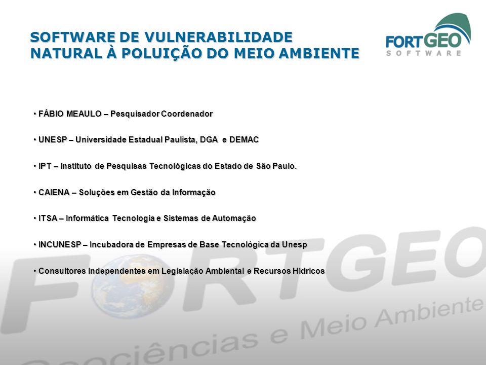 SOFTWARE DE VULNERABILIDADE NATURAL À POLUIÇÃO DO MEIO AMBIENTE FÁBIO MEAULO – Pesquisador Coordenador FÁBIO MEAULO – Pesquisador Coordenador UNESP –