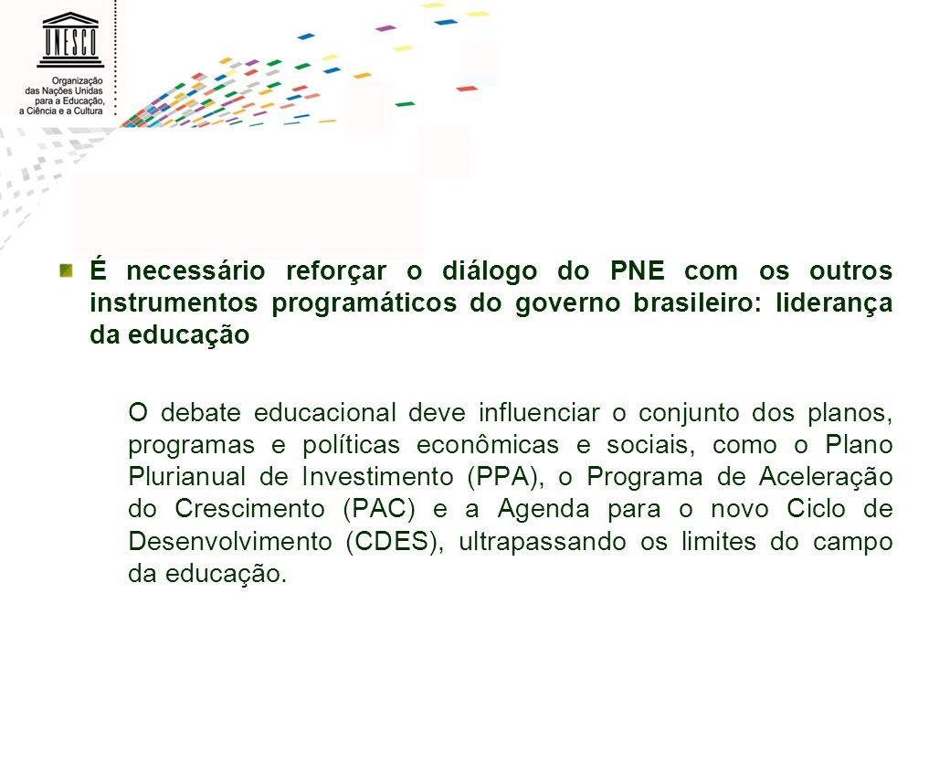 É necessário reforçar o diálogo do PNE com os outros instrumentos programáticos do governo brasileiro: liderança da educação O debate educacional deve