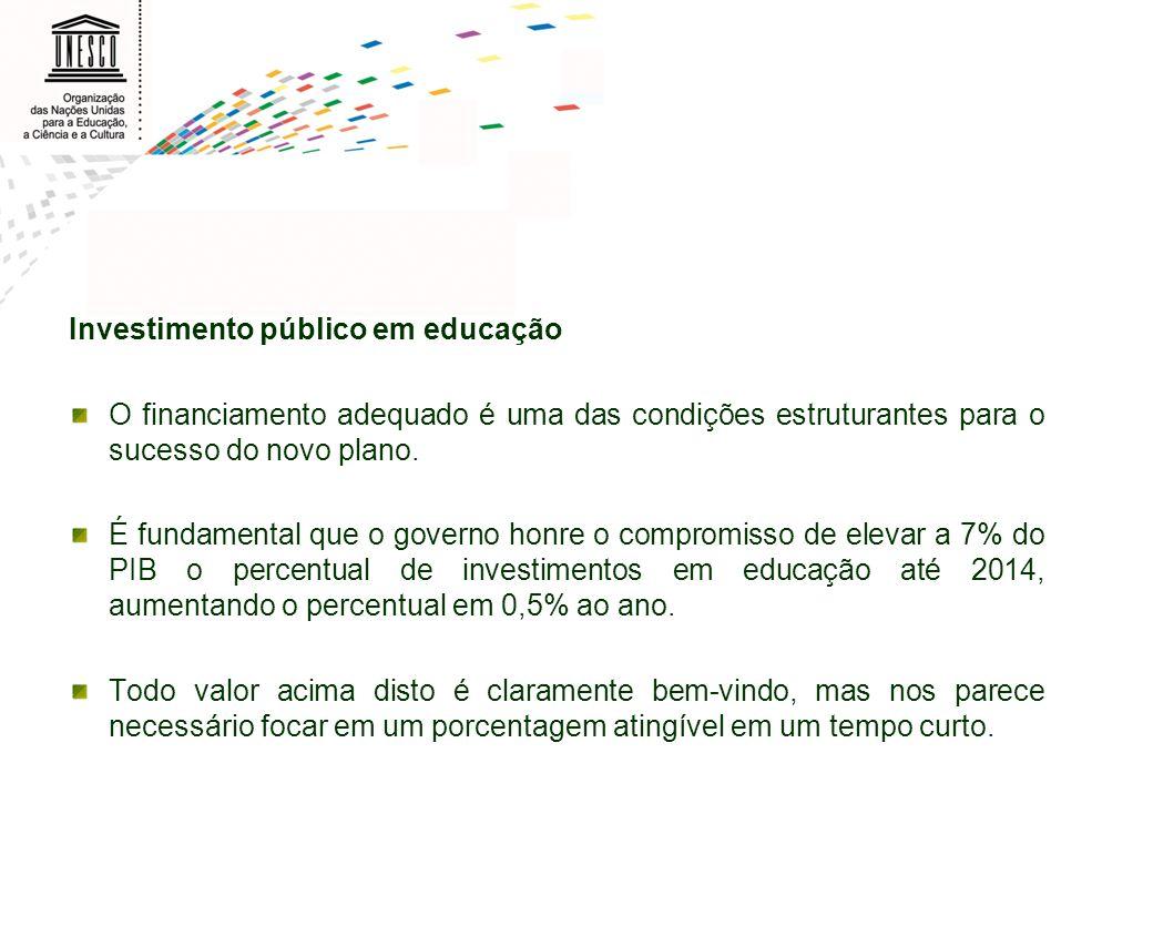 Investimento público em educação O financiamento adequado é uma das condições estruturantes para o sucesso do novo plano. É fundamental que o governo