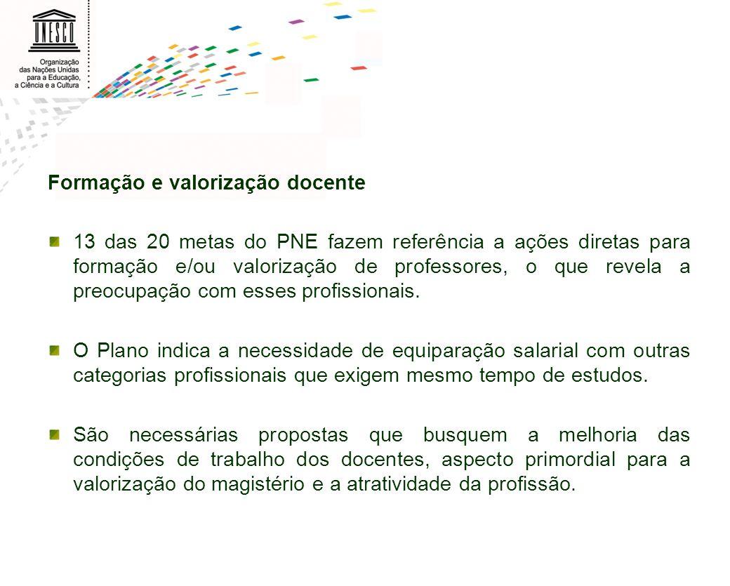 Formação e valorização docente 13 das 20 metas do PNE fazem referência a ações diretas para formação e/ou valorização de professores, o que revela a p