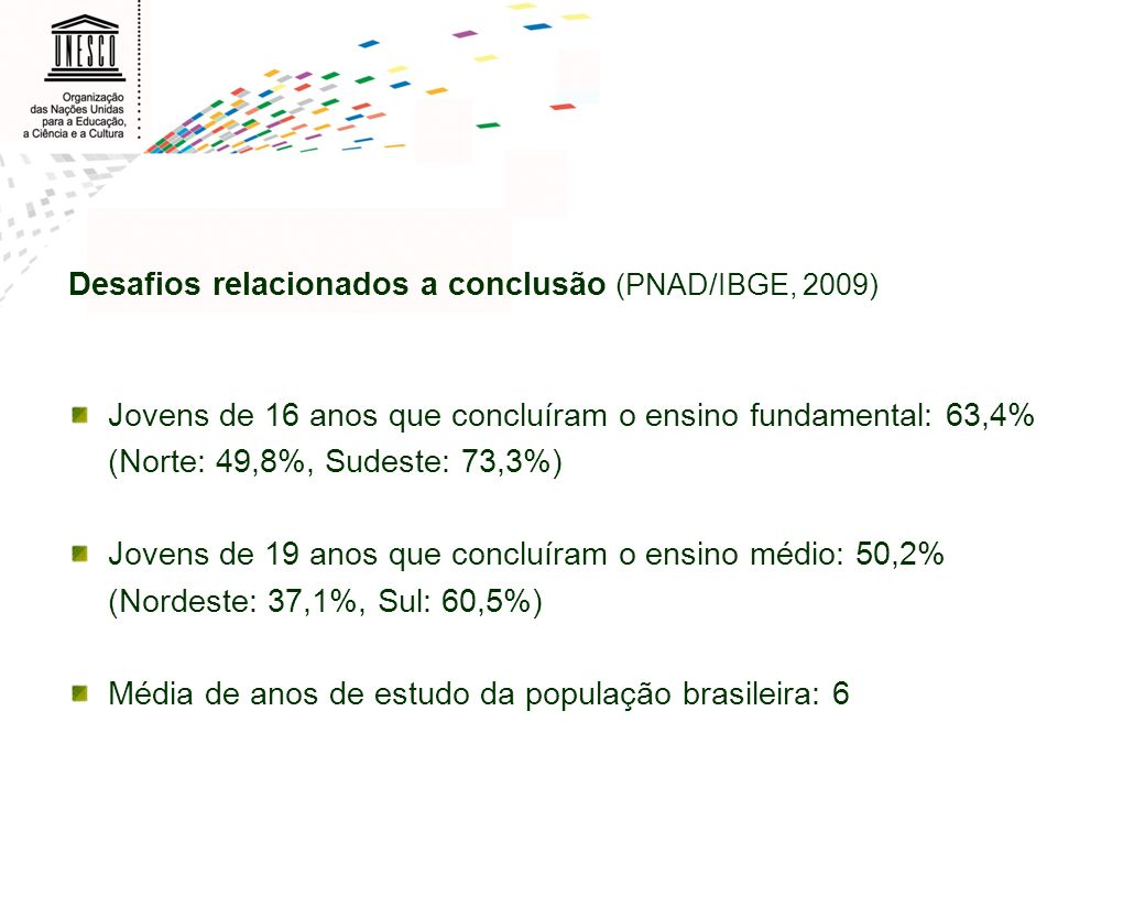 Desafios relacionados a conclusão (PNAD/IBGE, 2009) Jovens de 16 anos que concluíram o ensino fundamental: 63,4% (Norte: 49,8%, Sudeste: 73,3%) Jovens