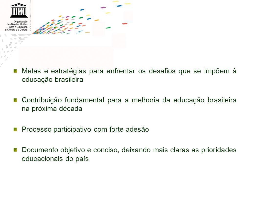 Metas e estratégias para enfrentar os desafios que se impõem à educação brasileira Contribuição fundamental para a melhoria da educação brasileira na