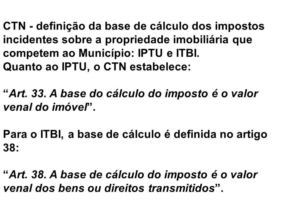 CTN - definição da base de cálculo dos impostos incidentes sobre a propriedade imobiliária que competem ao Município: IPTU e ITBI. Quanto ao IPTU, o C
